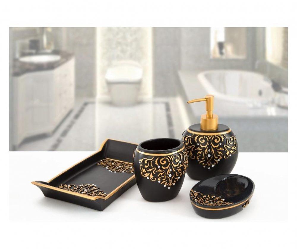 Set accesorii de baie 4 piese Flossy Black