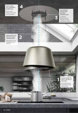 Tehnologia AIRLANE face posibila instalarea de hote suspendate fara prezenta tuburilor inestetice rezultand o hota stil candelabru care se integreaza perfect in mobilierul bucatariei