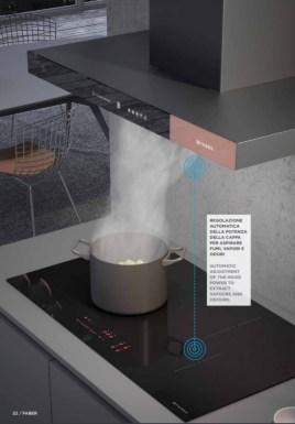 Tehnologia K-LINK puterea de aspiratie a hotei se regleaza automat pe baza nivelului de gatit selectat, printr-un sistem integrat care functioneaza pe unde radio.
