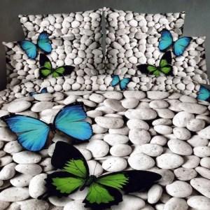 Lenjerie de pat dublu, 3D DIGITAL PRINT PUCIOASA, 4 piese, 2 persoane