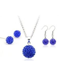 Set bijuteriii SHAMBALA albastru inchis-blue capri cu 2 perechi de cercei