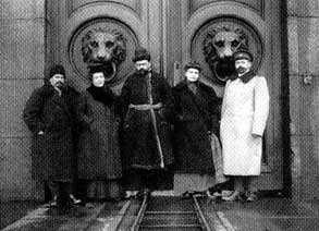 lab employees at a fortress gate