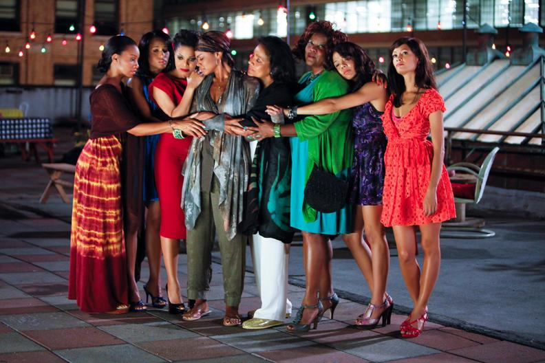 Image of the cast of For Colored Girls hugging