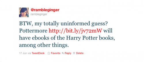 RambleGinger predicts Pottermore ebook sales