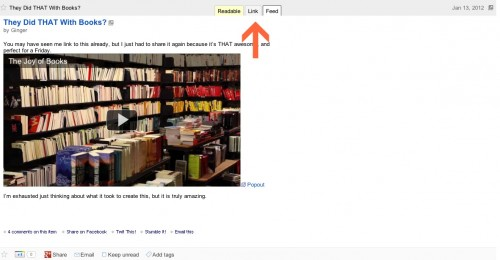 Showing where to find the links tab on Super Full Feeds for Google Reader