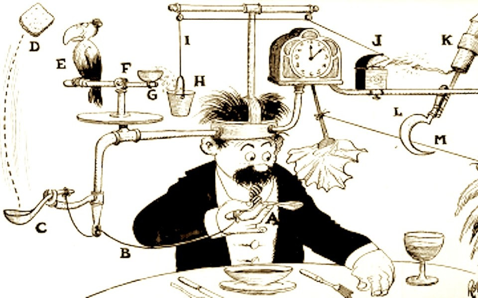 Self-operating Napkin by Rube Goldberg