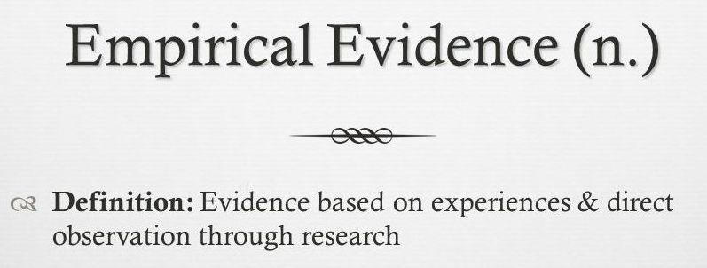 Empirical Evidence (n.): Evidence based on experiences & direct observation through research.