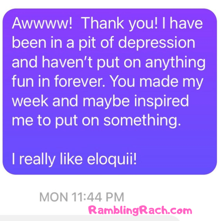 Rambling Rach blog reader asks for plus size fashion recommendations for Las Vegas trip because she's been inspired by my healing and bravery. I was honored because my own mental health has been low and I've been struggling with anxiety and depression. I told her Eloquii is my recommendation.