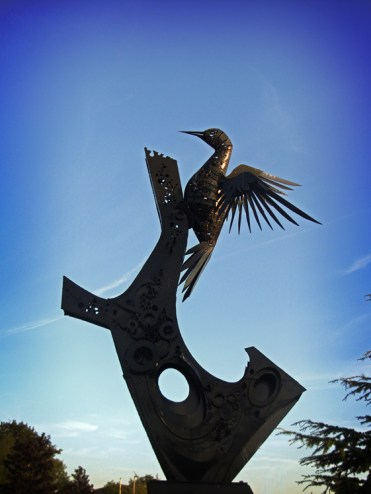 Photo of Bulmers woodpecker sculpture