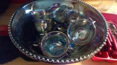 My favorite bit. A rainbow glass punch set. Sooooooo pretty! Now I want punch.
