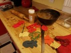 And here's the mess. Cinnamon is no substitute for flour, I'll tell you that.