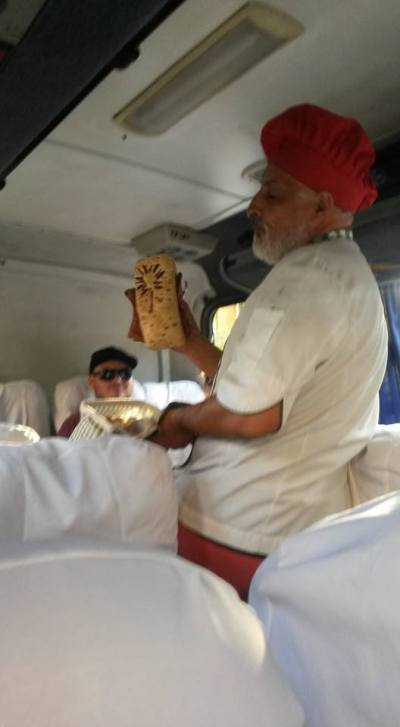 Bread for sale on the bus by a local vendor