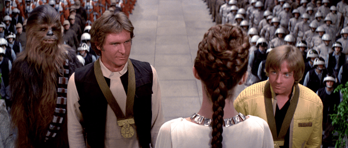 "Leia: ""On behalf of the Rebellion, here are your participation medals! Now I'm gonna do blow for the next 30 years."""