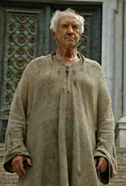 The High Sparrow addressing his sparrows while shitting standing up.