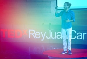 Javi Ramirez on the TEDx stage giving a talk