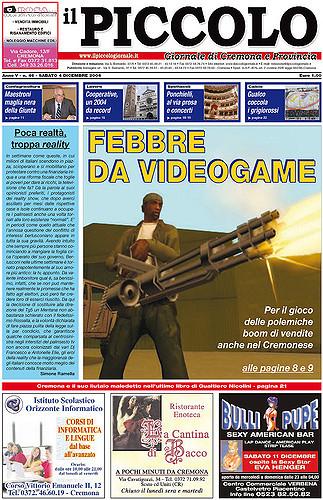 Copertina del Piccolo Giornale del 4 dicembre 2004
