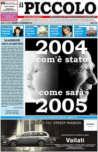 Copertina del Piccolo Giornale del 31 dicembre 2004