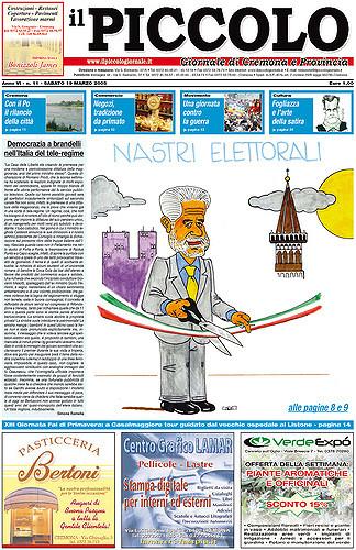 Copertina del Piccolo Giornale del 19 marzo 2005