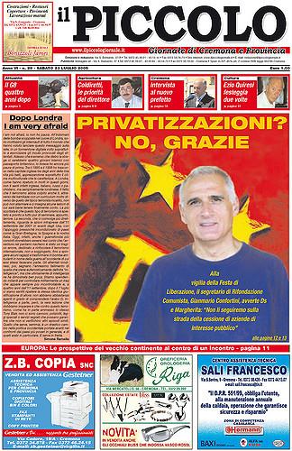 Copertina del Piccolo Giornale del 23 luglio 2005