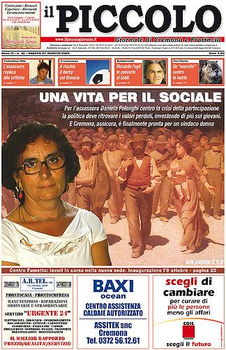 Copertina del Piccolo Giornale del 27 agosto 2005