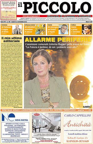 Copertina del Piccolo Giornale del 12 novembre 2005