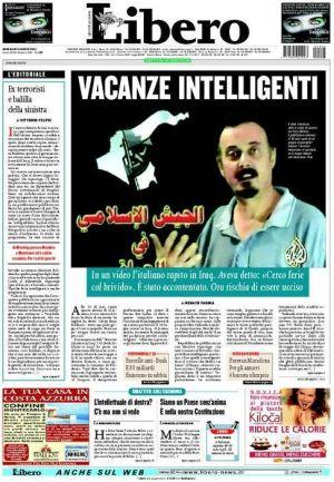 Enzo Baldoni sulla prima pagina del quotidiano Libero