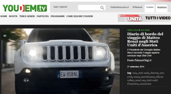 Matteo Renzi e lo spot della Jeep