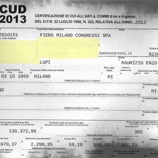 Il Cud 2013 di Maurizio Lupi per l'incarico di amministratore delegato di Fiera Milano Congressi Spa