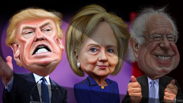 Le caricature di Donald Trump, Hillary Clinton e Bernie Sanders in un'illustrazione di DonkeyHotey