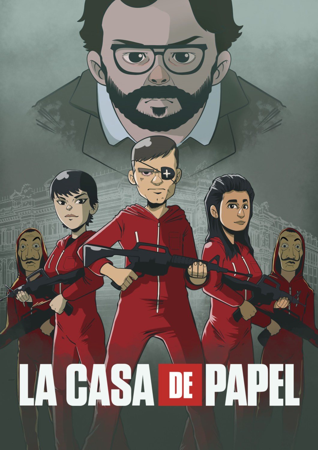 professor money heist cartoon