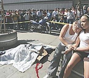 motorizado muerto en CC El Recreo