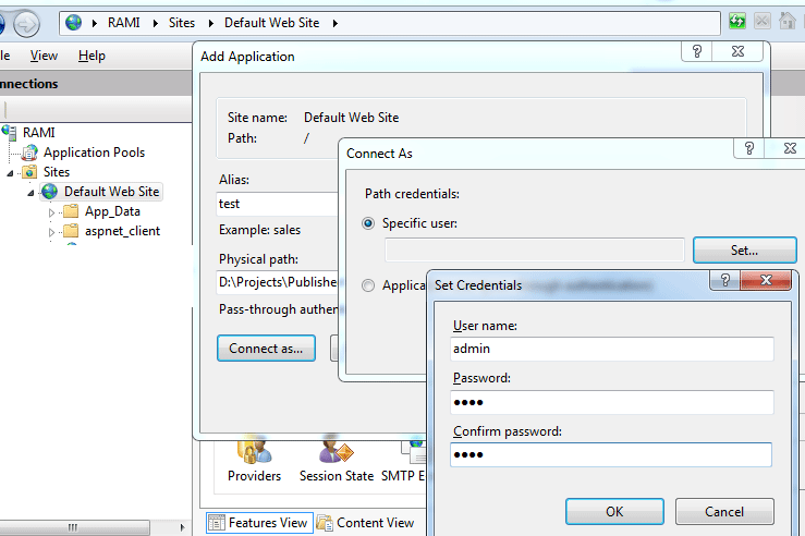 IIS7 - connect as