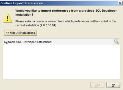 SQL Developer - ייבוא הגדרות קודמות