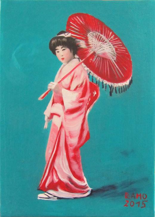 """Geisha in Rot"" by Ramona Romanu, 2015, Öl und Mischtechnik auf Leinwand, 13 x 18 cm Postkartenformat, Preis: 180 €"