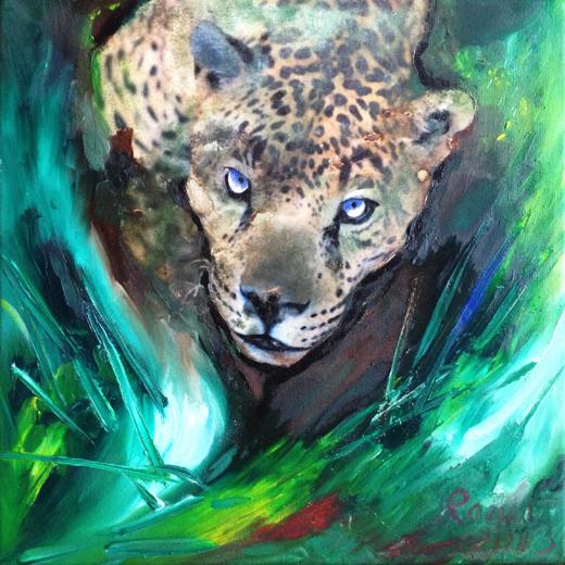 """""""Der Leopard"""" by Ramona Romanu, 2013, Öl und Mischtechnik auf Leinwand, 30 x 30 cm, Preis: 450 €"""