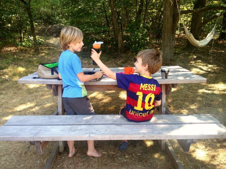 Picknicktafel op de camping in park de Hoge Veluwe