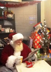 Santa at Packard's Coffee Shop in Ramona