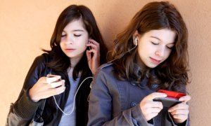 Young girls and their smartphones