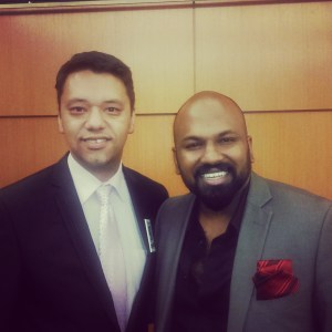 RJ Thomas with Dananjaya Hettiarachchi, World Champion in Public Speaking 2014 Toastmasters