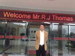 Ramon Thomas outisde Chinese company in DongGuan, Guangdong China