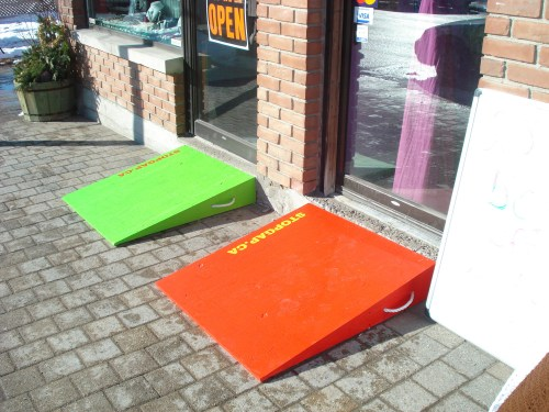 StopGap wheelchair ramps outside of a local business
