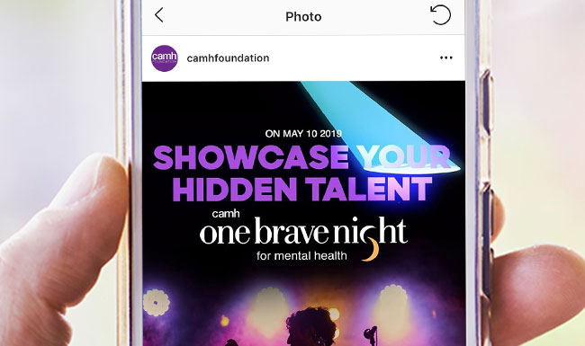 CAMH - One Brave Night website on a mobile phone