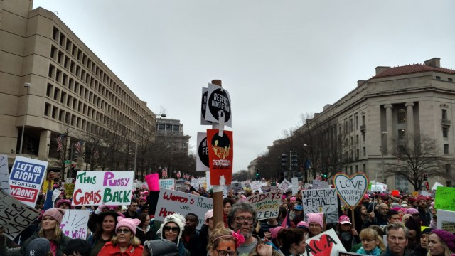 A view of the marching crowd