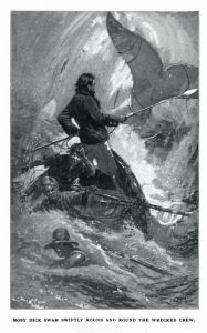 """Moby Dick swam swiftly round and round the wrecked crew."""
