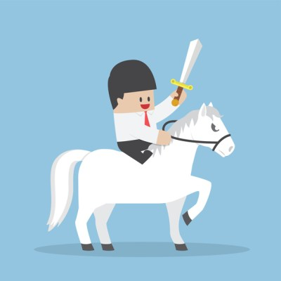 Businessman riding white horse and holding sword