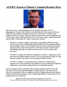 Flyer distributed near Peabody CEO Greg Boyce's St. Louis home identifying him as a