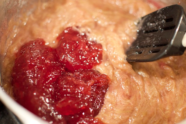 stir in strawberry jam