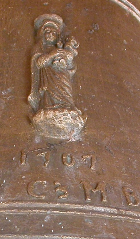 Church Bell close-up showing Mary with Jesus, Meneshwar temple, Menavali