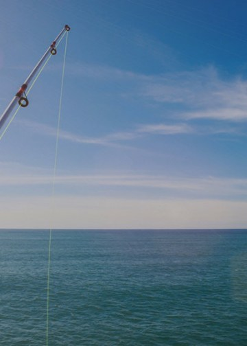 beautiful sunny day with four fishing rods in the ocean