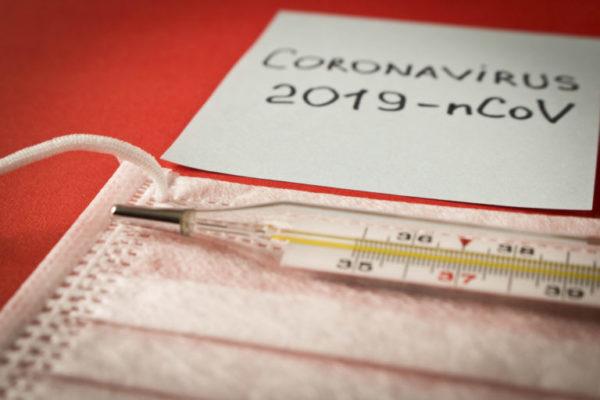 Coronavirus. Sticker With The Inscription Coronavirus, Thermomet